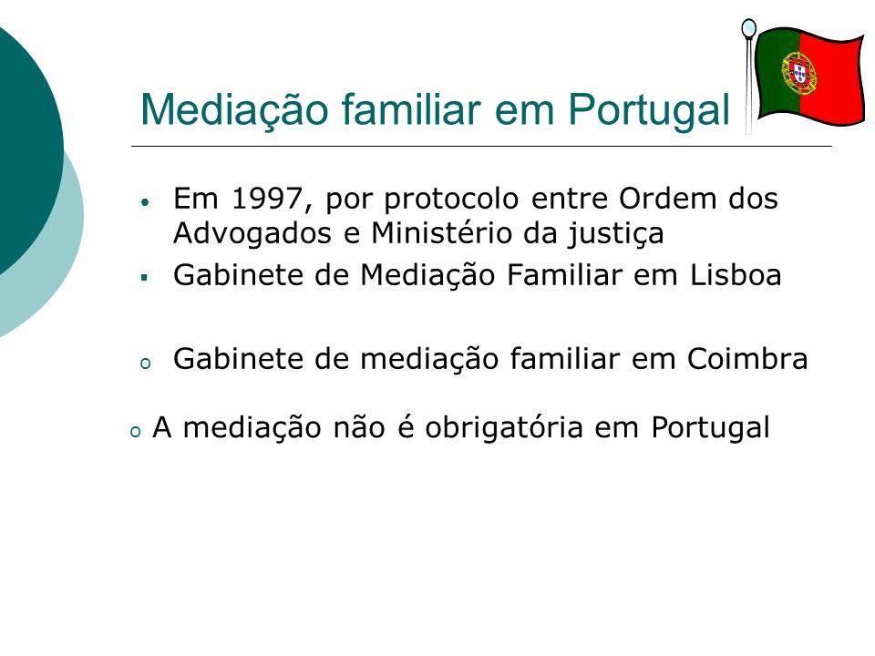 Mediação familiar em Portugal Em 1997, por protocolo entre Ordem dos Advogados e Ministério da justiça Gabinete de Mediação Familiar em Lisboa o Gabin