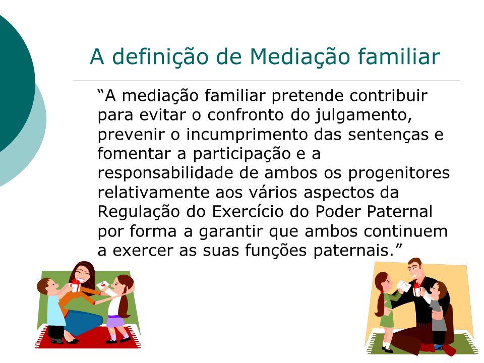 Mediação familiar em Portugal o Início: década de 90 o Em 1993 é criado o Instituto português de Mediação Familiar Por iniciativa de psicólogos,terapeutas, magistrados e juristas.