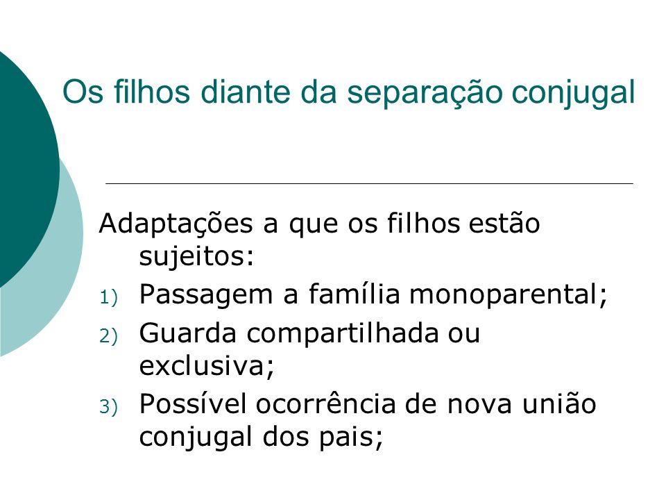 Os filhos diante da separação conjugal Adaptações a que os filhos estão sujeitos: 1) Passagem a família monoparental; 2) Guarda compartilhada ou exclu