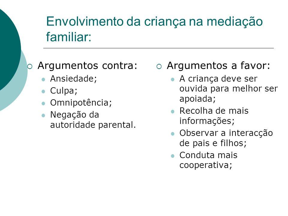 Envolvimento da criança na mediação familiar: Argumentos contra: Ansiedade; Culpa; Omnipotência; Negação da autoridade parental. Argumentos a favor: A