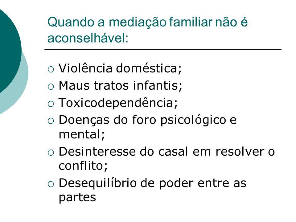 Quando a mediação familiar não é aconselhável: Violência doméstica; Maus tratos infantis; Toxicodependência; Doenças do foro psicológico e mental; Des