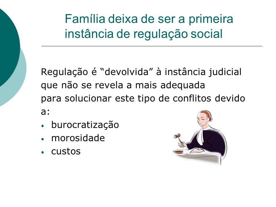 Família deixa de ser a primeira instância de regulação social Regulação é devolvida à instância judicial que não se revela a mais adequada para soluci