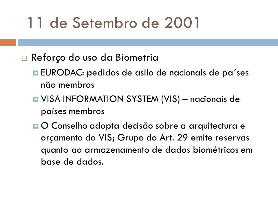 11 de Setembro de 2001 Reforço do uso da Biometria EURODAC: pedidos de asilo de nacionais de pa´ses não membros VISA INFORMATION SYSTEM (VIS) – nacion