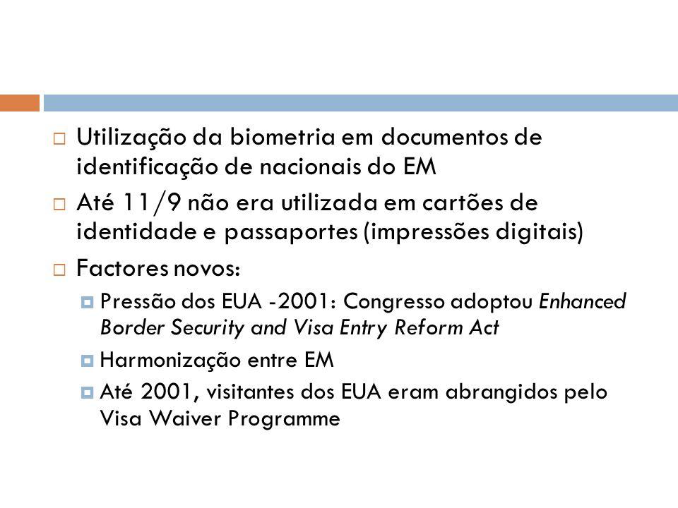 Utilização da biometria em documentos de identificação de nacionais do EM Até 11/9 não era utilizada em cartões de identidade e passaportes (impressõe