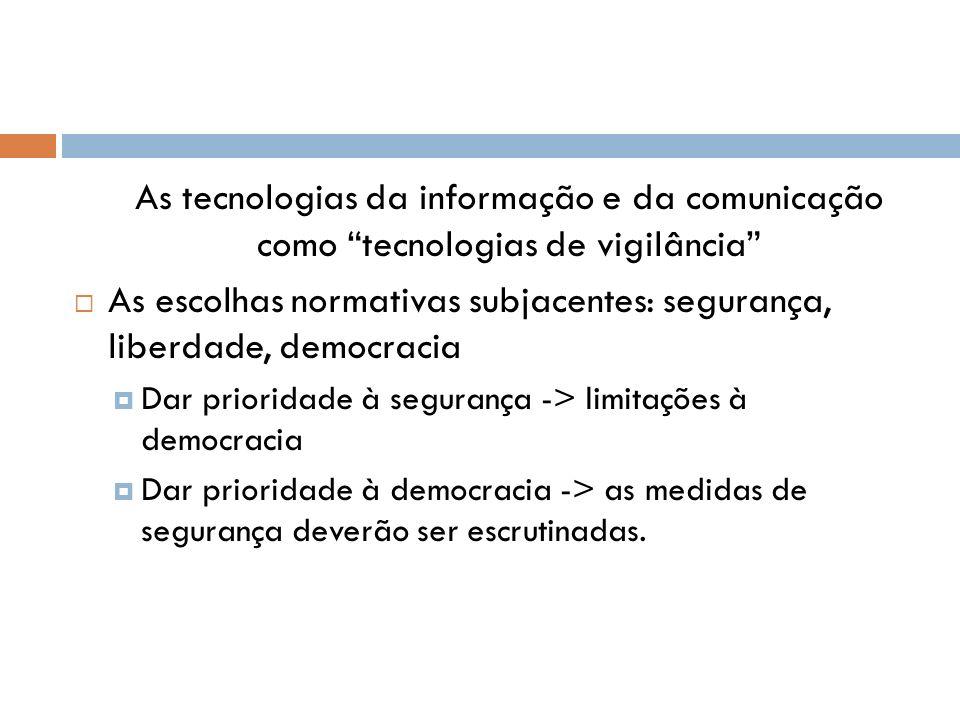 As tecnologias da informação e da comunicação como tecnologias de vigilância As escolhas normativas subjacentes: segurança, liberdade, democracia Dar
