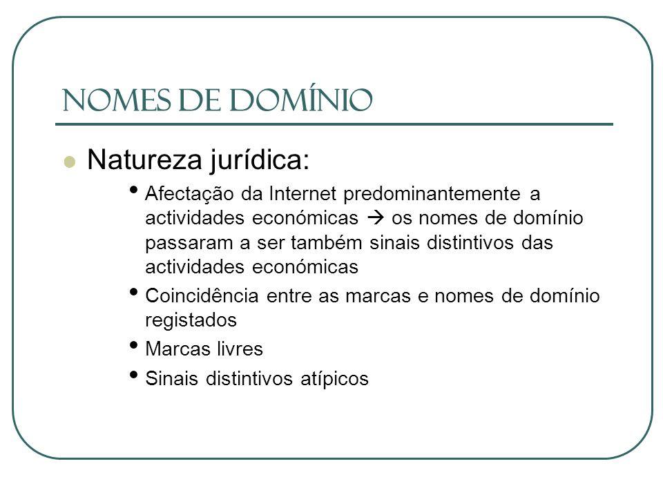 Nomes de Domínio Natureza jurídica: Afectação da Internet predominantemente a actividades económicas os nomes de domínio passaram a ser também sinais
