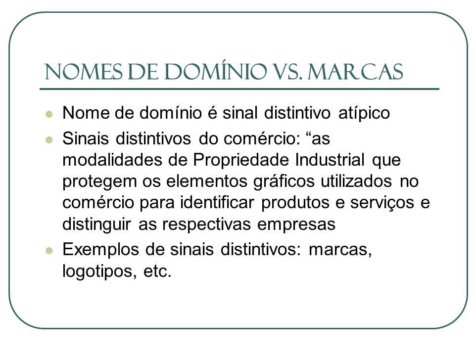 Nomes de Domínio vs. Marcas Nome de domínio é sinal distintivo atípico Sinais distintivos do comércio: as modalidades de Propriedade Industrial que pr