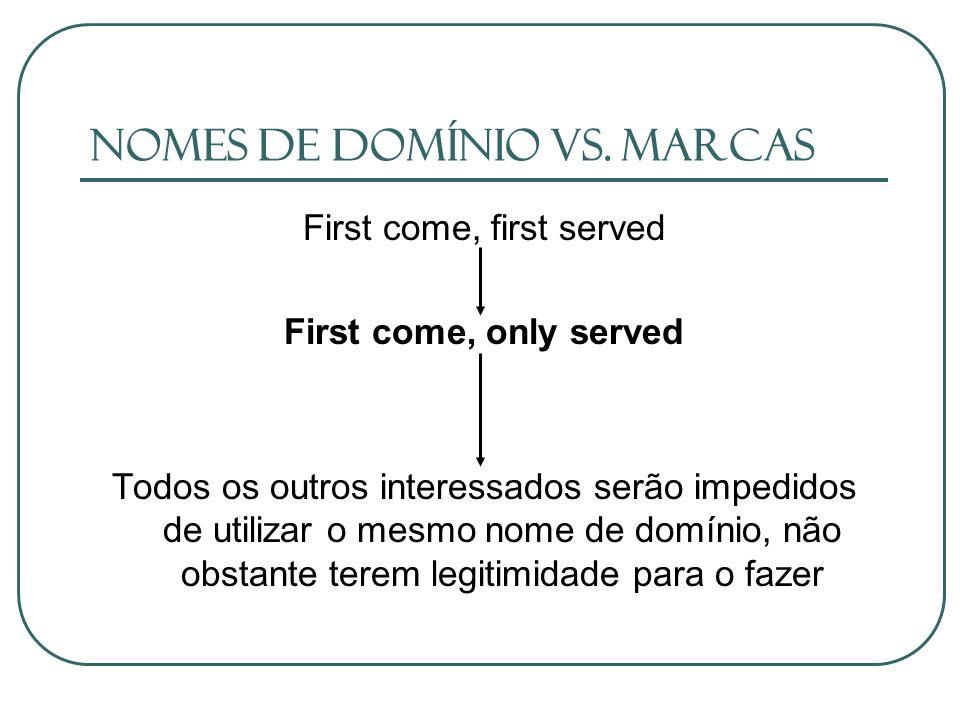 Nomes de domínio vs. Marcas First come, first served First come, only served Todos os outros interessados serão impedidos de utilizar o mesmo nome de