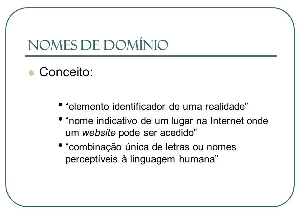Nomes de Domínio Conceito: elemento identificador de uma realidade nome indicativo de um lugar na Internet onde um website pode ser acedido combinação
