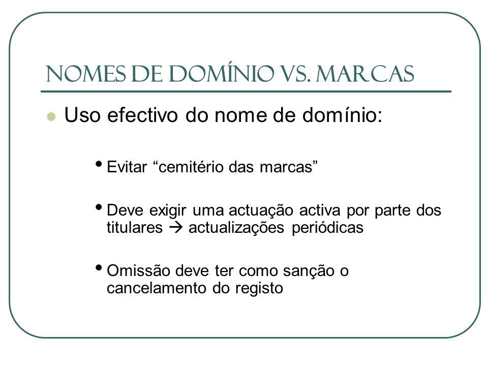 Nomes de domínio vs. Marcas Uso efectivo do nome de domínio: Evitar cemitério das marcas Deve exigir uma actuação activa por parte dos titulares actua