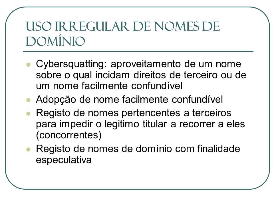USO IRREGULAR DE NOMES DE DOMÍNIO Cybersquatting: aproveitamento de um nome sobre o qual incidam direitos de terceiro ou de um nome facilmente confund