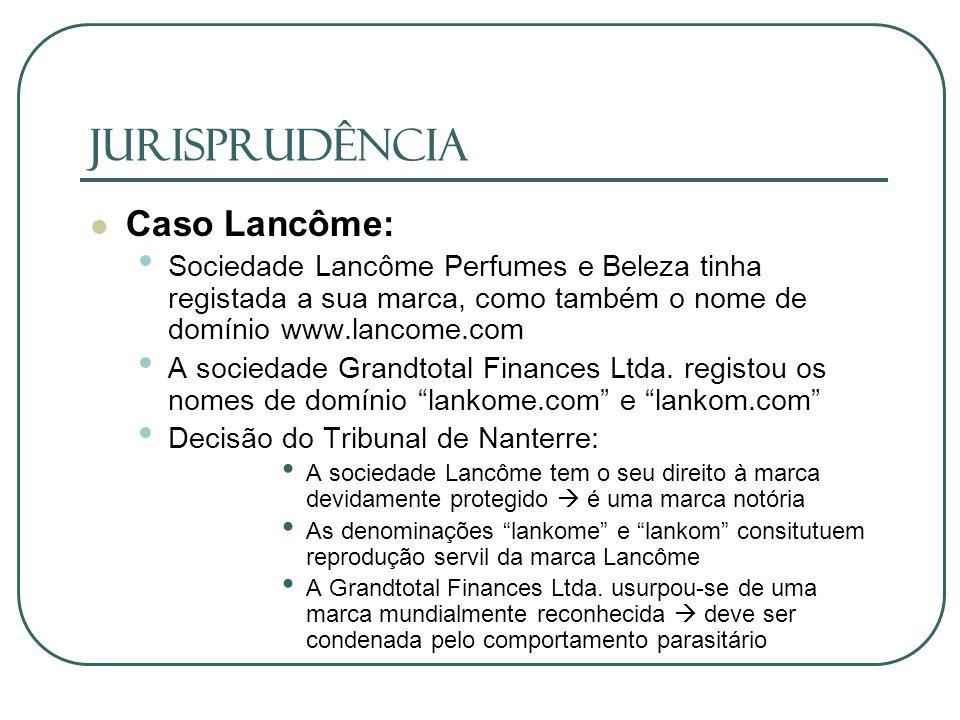 JURISPRUDÊNCIA Caso Lancôme: Sociedade Lancôme Perfumes e Beleza tinha registada a sua marca, como também o nome de domínio www.lancome.com A sociedad