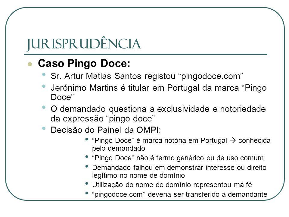 JURISPRUDÊNCIA Caso Pingo Doce: Sr. Artur Matias Santos registou pingodoce.com Jerónimo Martins é titular em Portugal da marca Pingo Doce O demandado