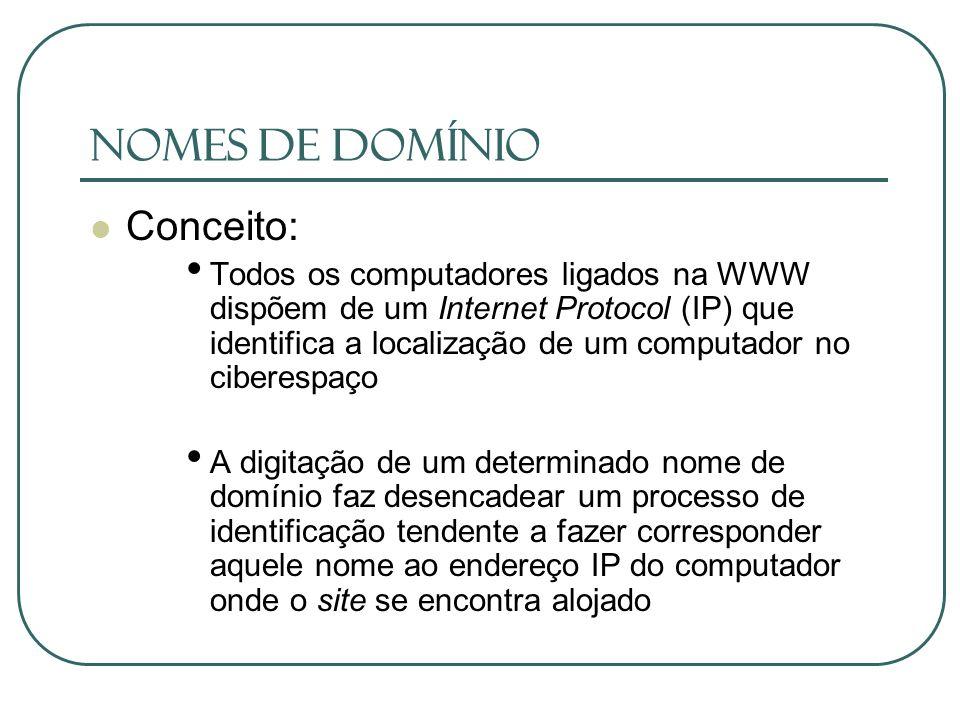 Nomes de Domínio Conceito: Todos os computadores ligados na WWW dispõem de um Internet Protocol (IP) que identifica a localização de um computador no