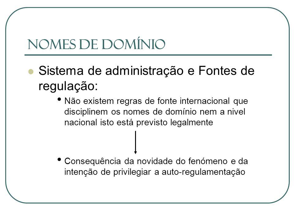 Nomes de Domínio Sistema de administração e Fontes de regulação: Não existem regras de fonte internacional que disciplinem os nomes de domínio nem a n