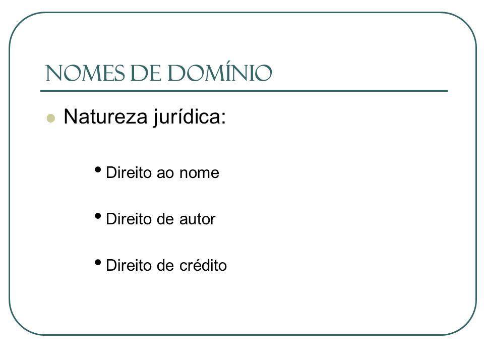 Nomes de Domínio Natureza jurídica: Direito ao nome Direito de autor Direito de crédito
