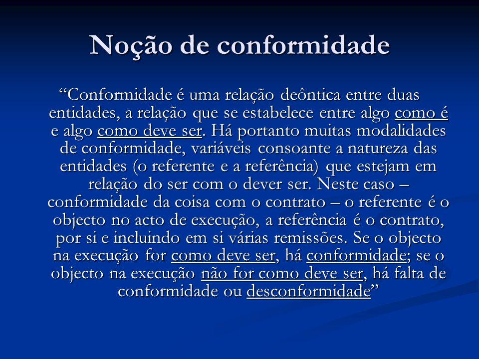 Noção de conformidade Conformidade é uma relação deôntica entre duas entidades, a relação que se estabelece entre algo como é e algo como deve ser.