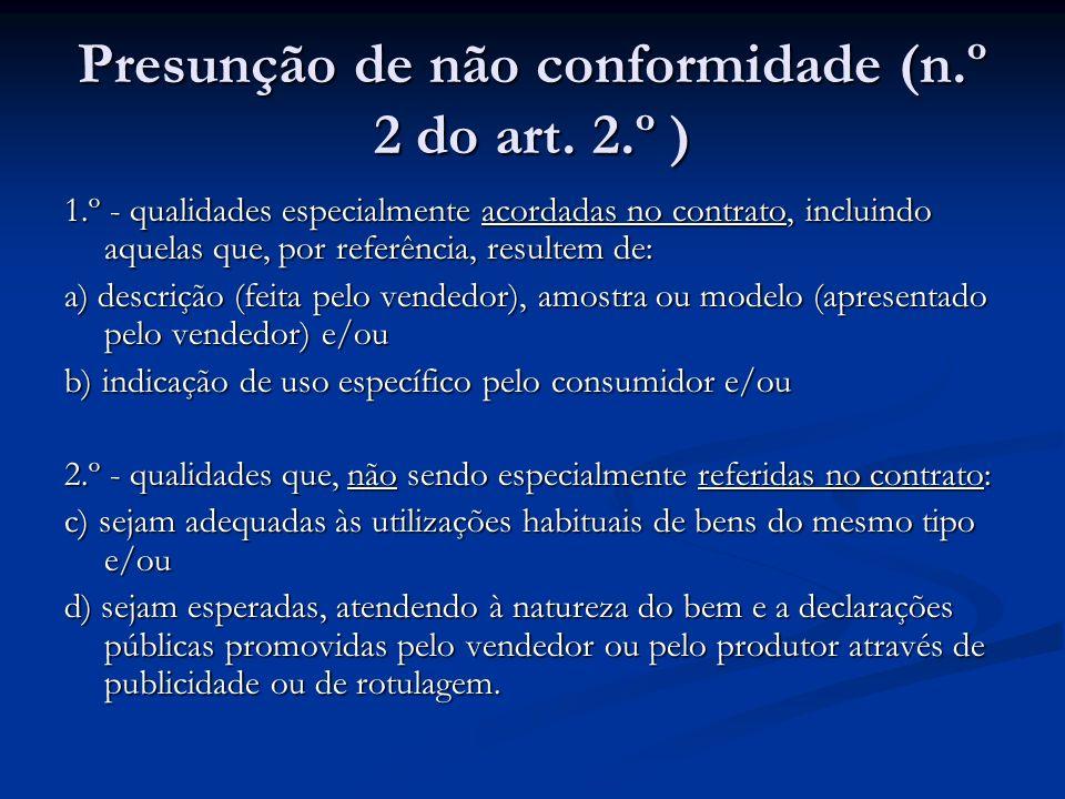 Presunção de não conformidade (n.º 2 do art.