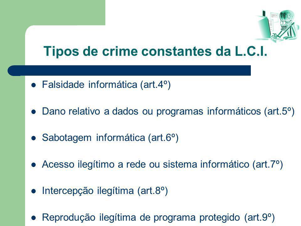 Falsidade informática (art.4º) Dano relativo a dados ou programas informáticos (art.5º) Sabotagem informática (art.6º) Acesso ilegítimo a rede ou sist