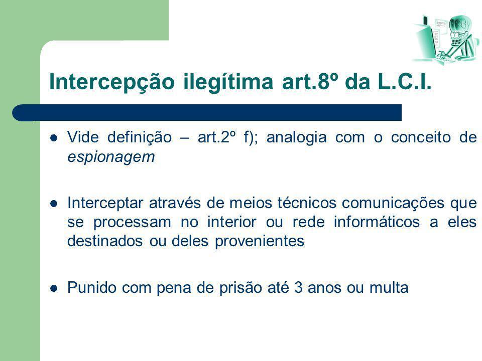 Vide definição – art.2º f); analogia com o conceito de espionagem Interceptar através de meios técnicos comunicações que se processam no interior ou r