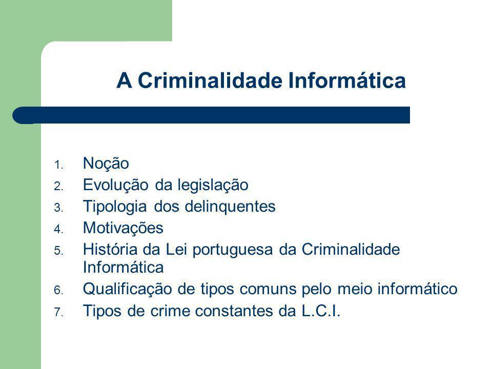 1. Noção 2. Evolução da legislação 3. Tipologia dos delinquentes 4. Motivações 5. História da Lei portuguesa da Criminalidade Informática 6. Qualifica
