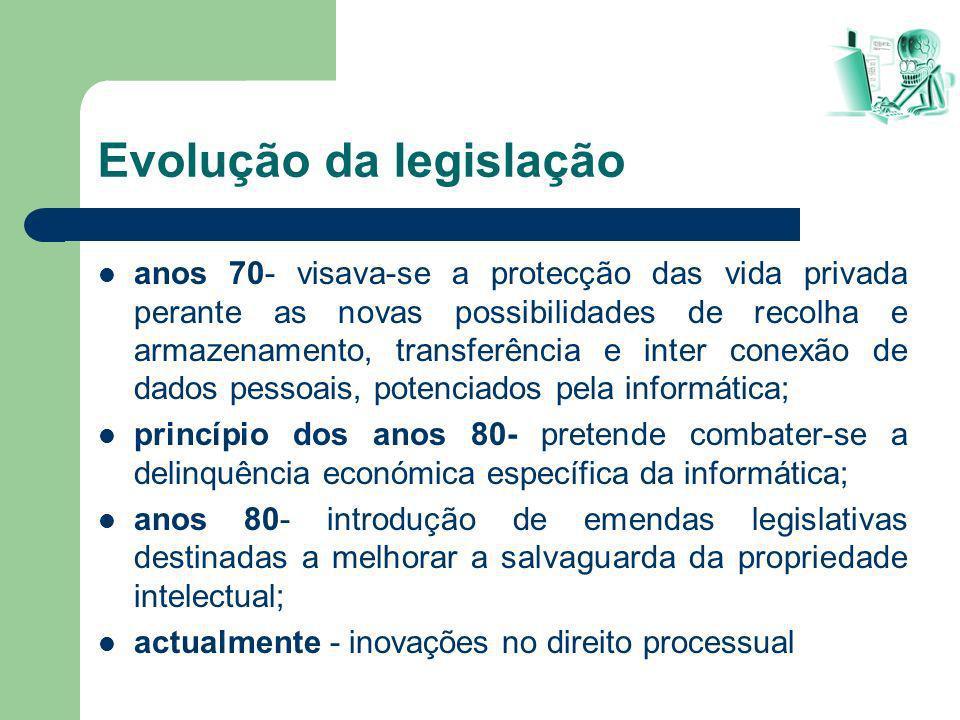 Evolução da legislação anos 70- visava-se a protecção das vida privada perante as novas possibilidades de recolha e armazenamento, transferência e int