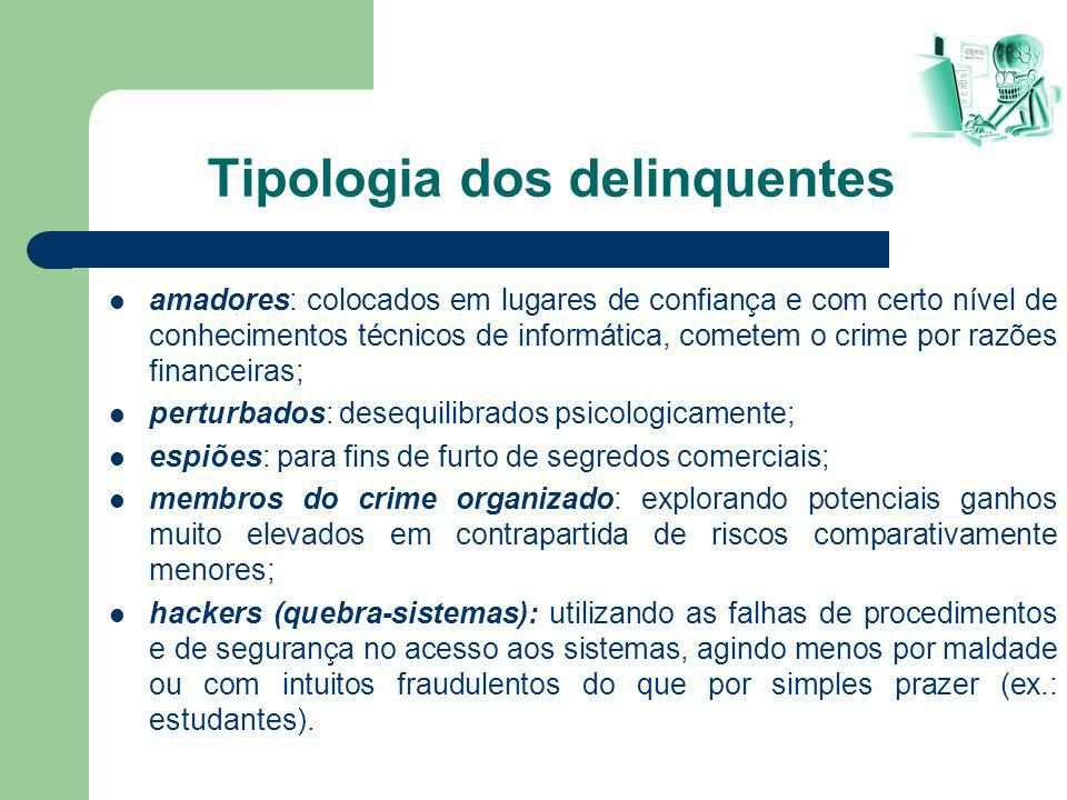 Tipologia dos delinquentes amadores: colocados em lugares de confiança e com certo nível de conhecimentos técnicos de informática, cometem o crime por