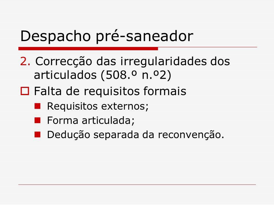 Despacho pré-saneador 2. Correcção das irregularidades dos articulados (508.º n.º2) Falta de requisitos formais Requisitos externos; Forma articulada;