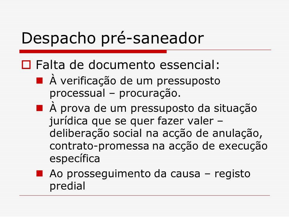 Despacho pré-saneador Falta de documento essencial: À verificação de um pressuposto processual – procuração. À prova de um pressuposto da situação jur