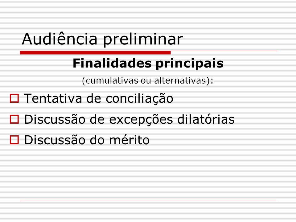 Audiência preliminar Finalidades principais (cumulativas ou alternativas): Tentativa de conciliação Discussão de excepções dilatórias Discussão do mér