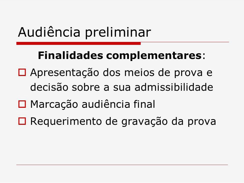 Audiência preliminar Finalidades complementares: Apresentação dos meios de prova e decisão sobre a sua admissibilidade Marcação audiência final Requer