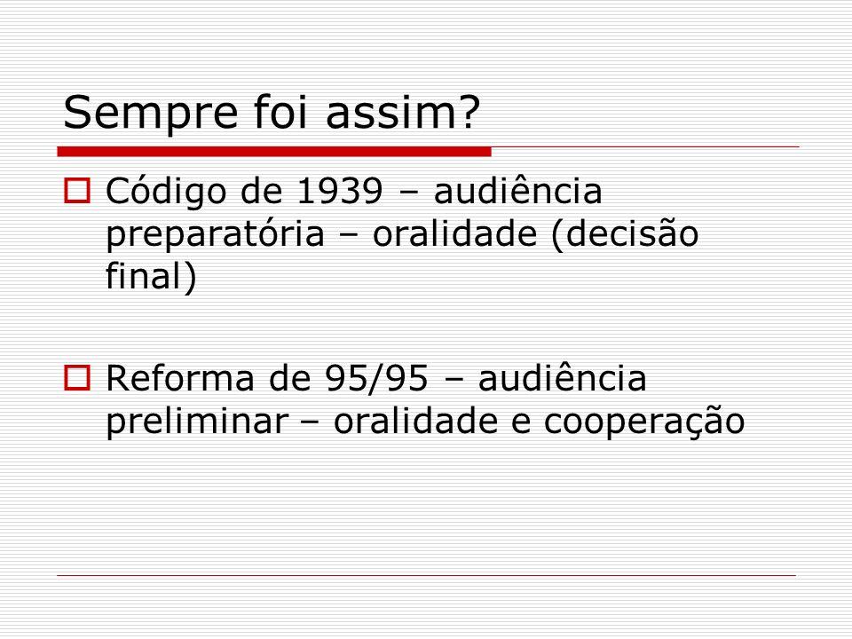 Sempre foi assim? Código de 1939 – audiência preparatória – oralidade (decisão final) Reforma de 95/95 – audiência preliminar – oralidade e cooperação