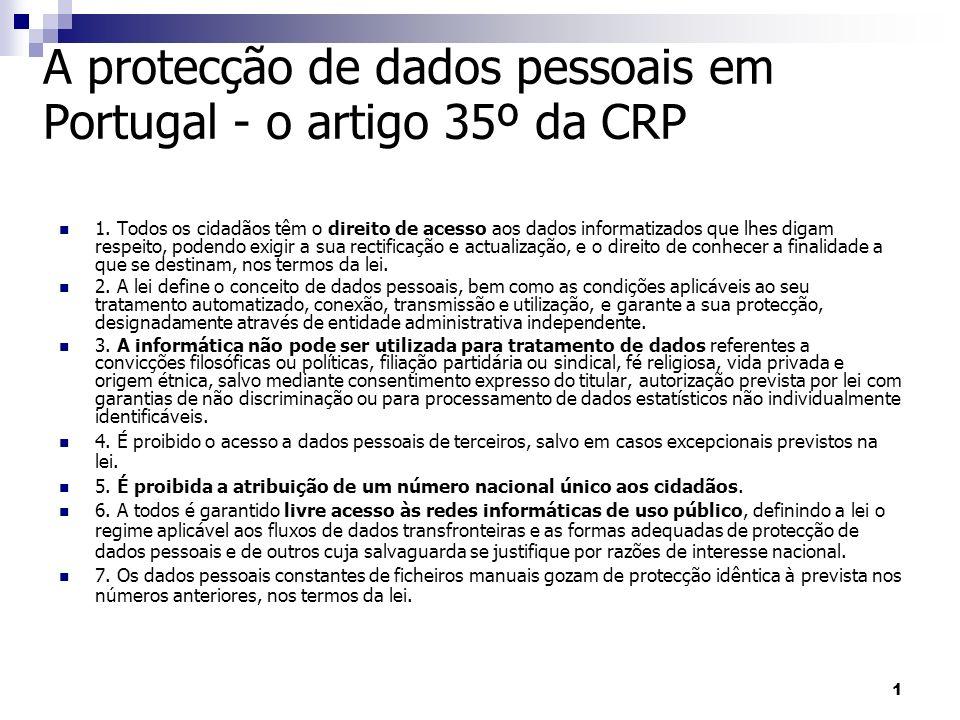1 A protecção de dados pessoais em Portugal - o artigo 35º da CRP 1. Todos os cidadãos têm o direito de acesso aos dados informatizados que lhes digam