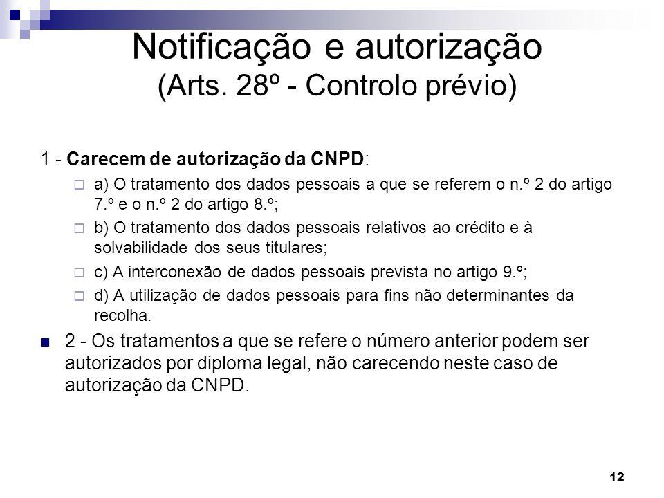 12 Notificação e autorização (Arts. 28º - Controlo prévio) 1 - Carecem de autorização da CNPD: a) O tratamento dos dados pessoais a que se referem o n