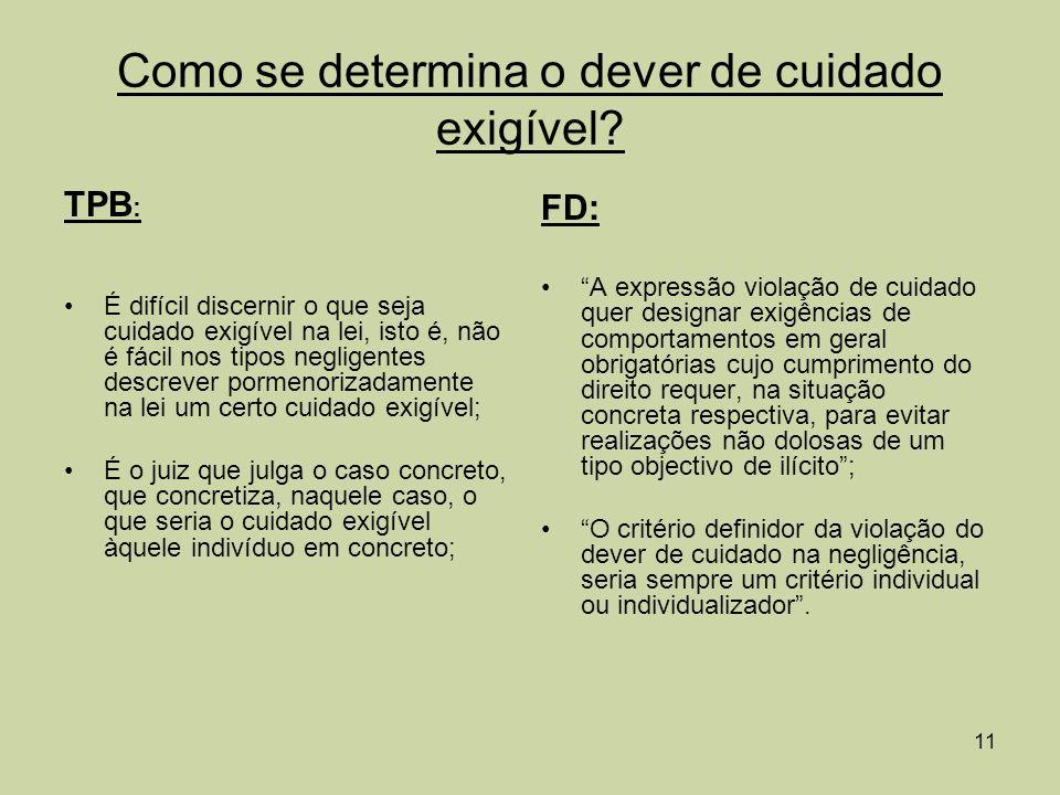 12 Fontes concretizadoras do dever de cuidado: FD: É fundamental comprovar a fonte do cuidado devido no caso concreto.