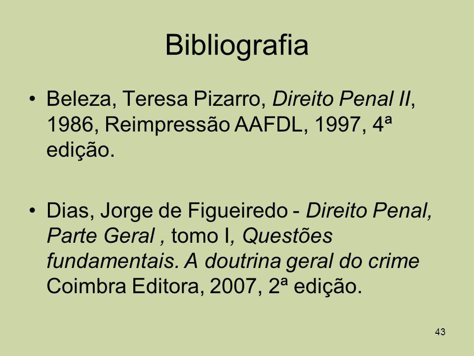 43 Bibliografia Beleza, Teresa Pizarro, Direito Penal II, 1986, Reimpressão AAFDL, 1997, 4ª edição. Dias, Jorge de Figueiredo - Direito Penal, Parte G