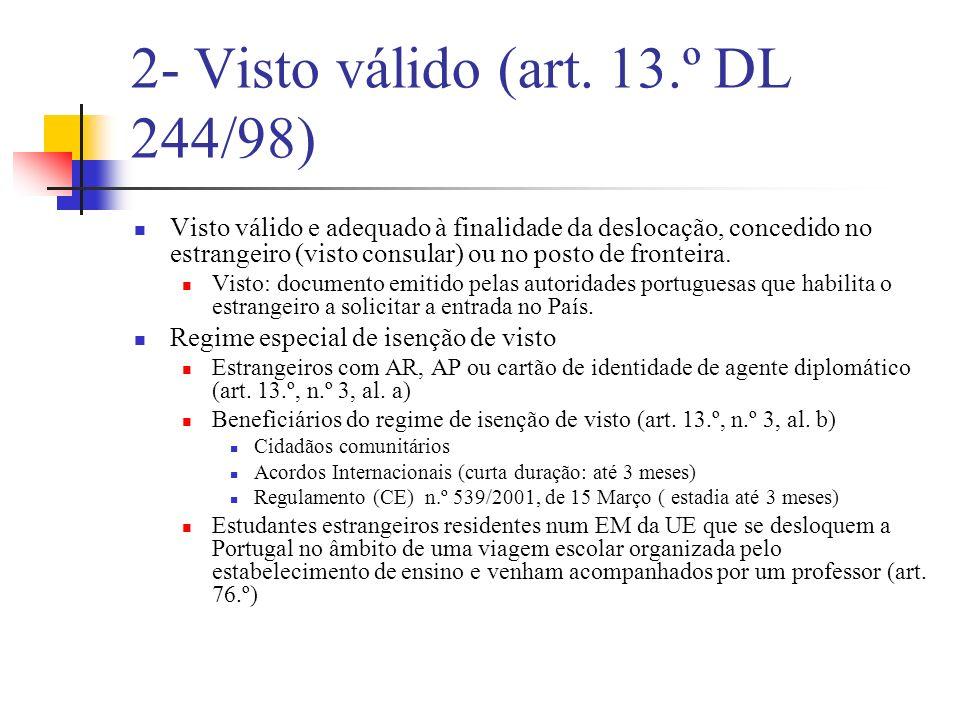 Vistos consulares: curta duração Escala (art.