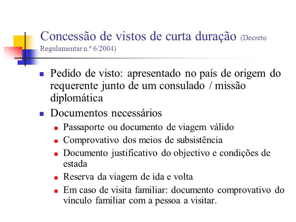 Vistos consulares (longa duração) Residência (art.
