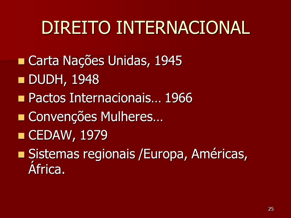 25 DIREITO INTERNACIONAL Carta Nações Unidas, 1945 Carta Nações Unidas, 1945 DUDH, 1948 DUDH, 1948 Pactos Internacionais… 1966 Pactos Internacionais…