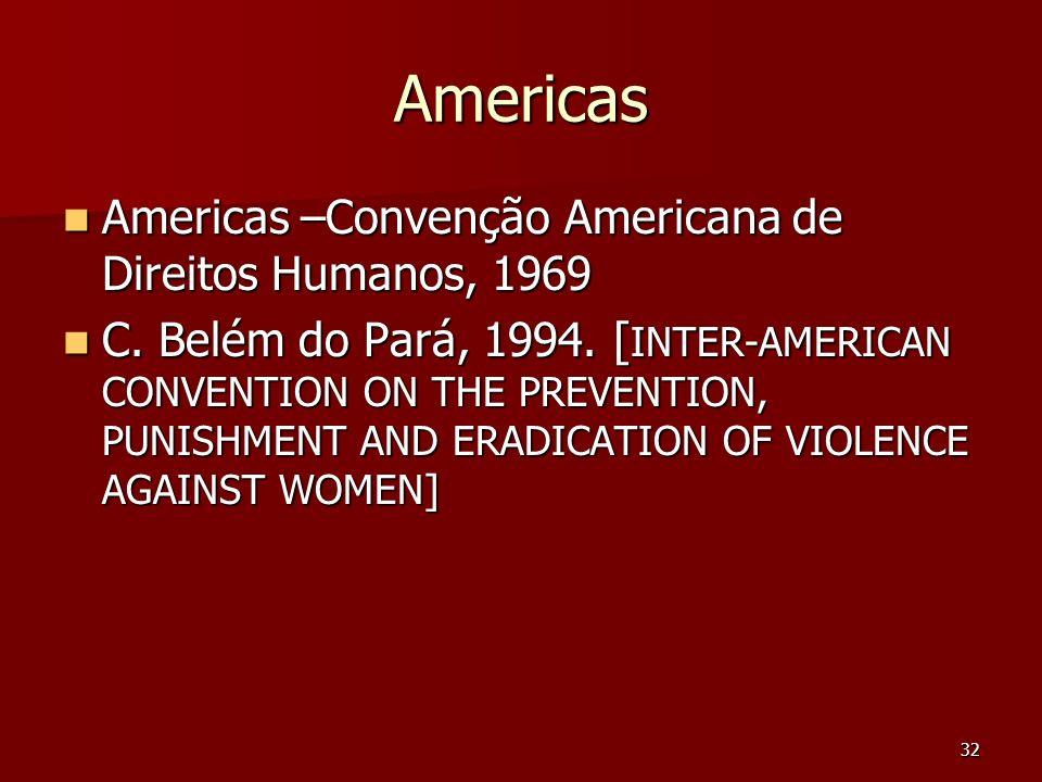 32 Americas Americas –Convenção Americana de Direitos Humanos, 1969 Americas –Convenção Americana de Direitos Humanos, 1969 C. Belém do Pará, 1994. [