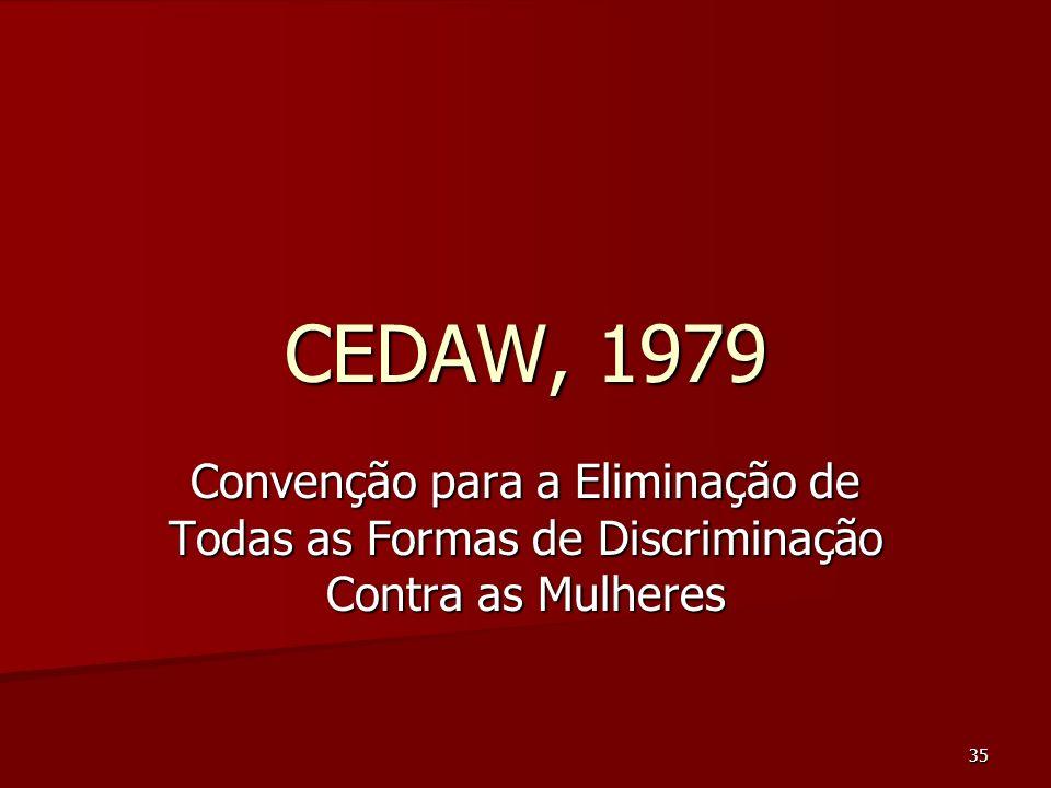 35 CEDAW, 1979 Convenção para a Eliminação de Todas as Formas de Discriminação Contra as Mulheres