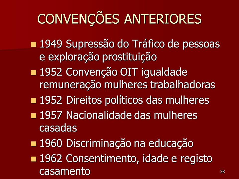 38 CONVENÇÕES ANTERIORES 1949 Supressão do Tráfico de pessoas e exploração prostituição 1949 Supressão do Tráfico de pessoas e exploração prostituição