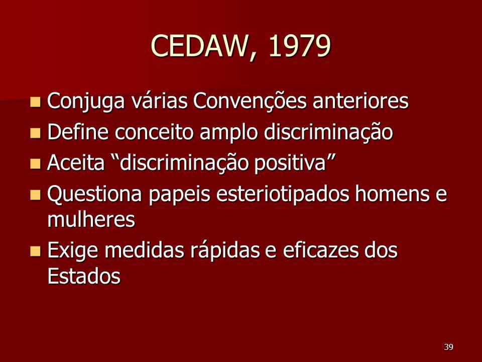 39 CEDAW, 1979 Conjuga várias Convenções anteriores Conjuga várias Convenções anteriores Define conceito amplo discriminação Define conceito amplo dis