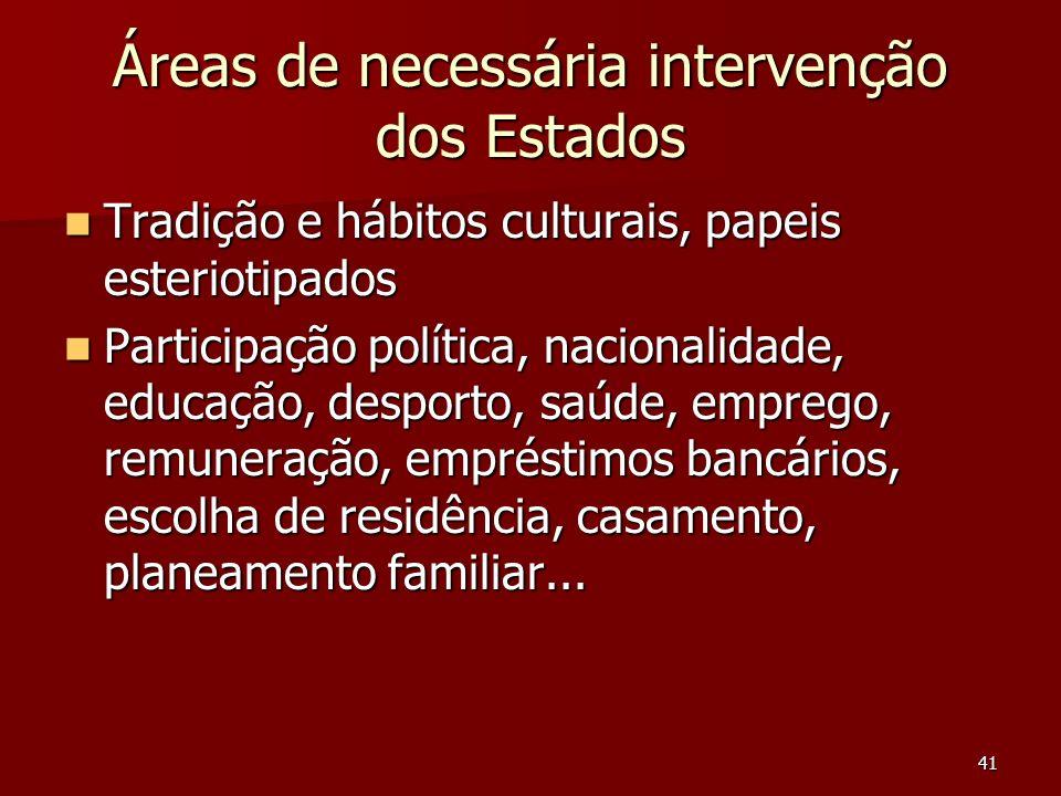 41 Áreas de necessária intervenção dos Estados Tradição e hábitos culturais, papeis esteriotipados Tradição e hábitos culturais, papeis esteriotipados