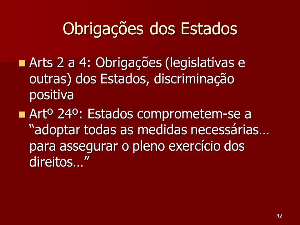 42 Obrigações dos Estados Arts 2 a 4: Obrigações (legislativas e outras) dos Estados, discriminação positiva Arts 2 a 4: Obrigações (legislativas e ou