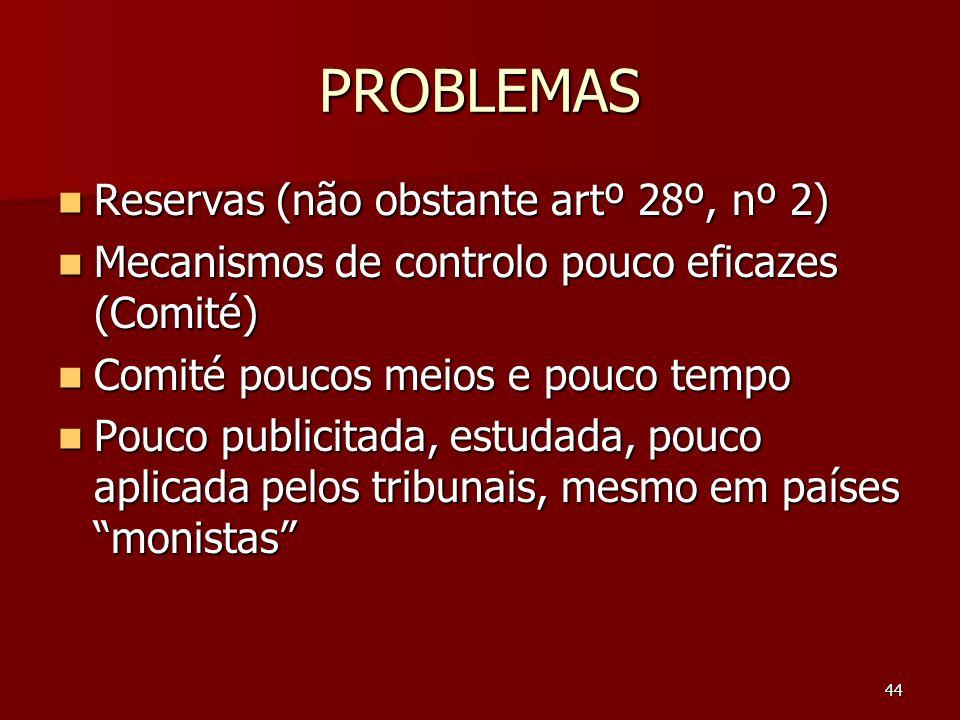 44 PROBLEMAS Reservas (não obstante artº 28º, nº 2) Reservas (não obstante artº 28º, nº 2) Mecanismos de controlo pouco eficazes (Comité) Mecanismos d