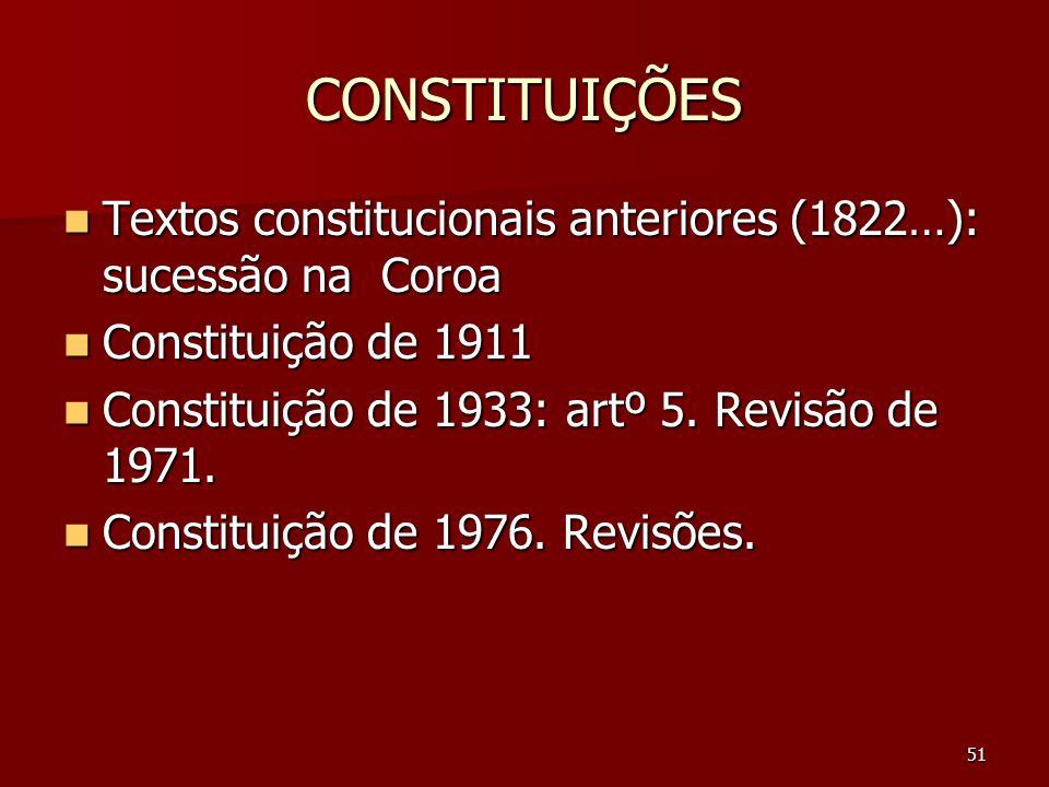 51 CONSTITUIÇÕES Textos constitucionais anteriores (1822…): sucessão na Coroa Textos constitucionais anteriores (1822…): sucessão na Coroa Constituiçã