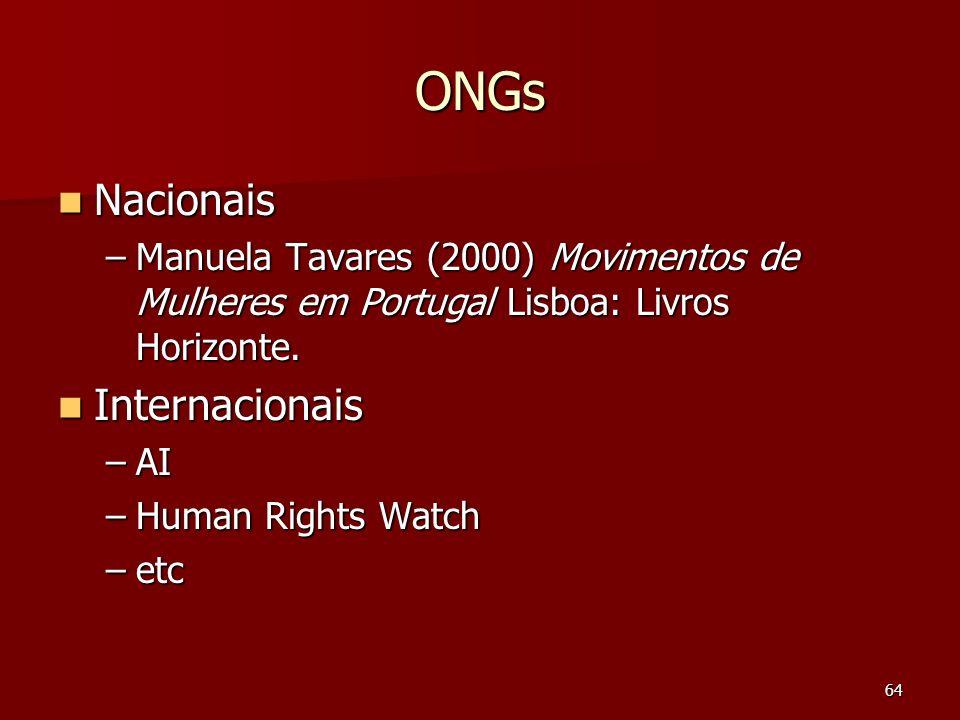 64 ONGs Nacionais Nacionais –Manuela Tavares (2000) Movimentos de Mulheres em Portugal Lisboa: Livros Horizonte. Internacionais Internacionais –AI –Hu