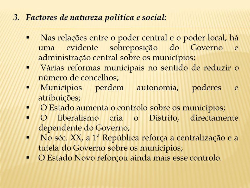 3.Factores de natureza politica e social: Nas relações entre o poder central e o poder local, há uma evidente sobreposição do Governo e administração