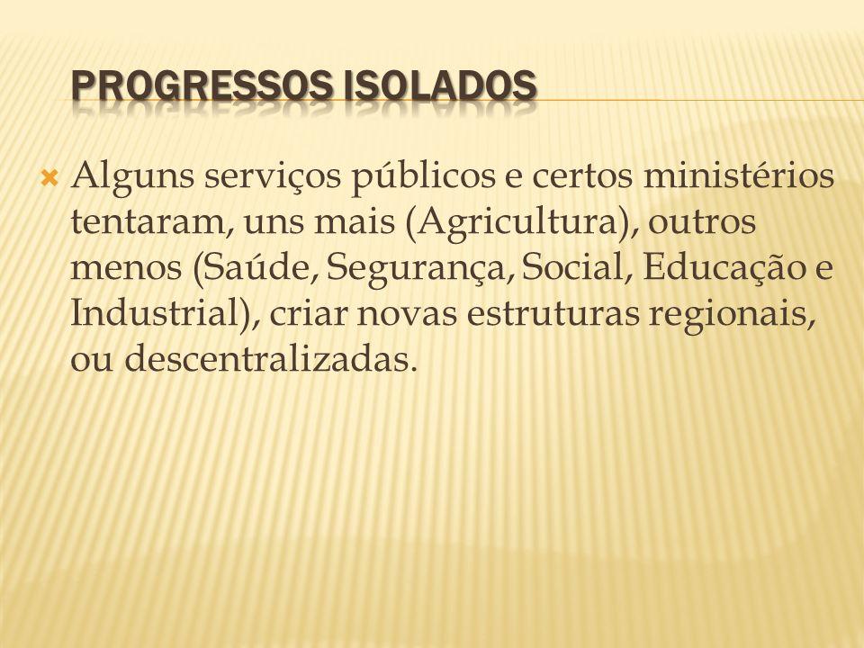 Alguns serviços públicos e certos ministérios tentaram, uns mais (Agricultura), outros menos (Saúde, Segurança, Social, Educação e Industrial), criar